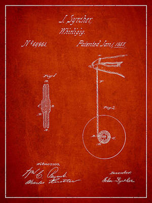 Yoyos Digital Art - Vintage Yoyo Patent Drawing From 1867 by Aged Pixel