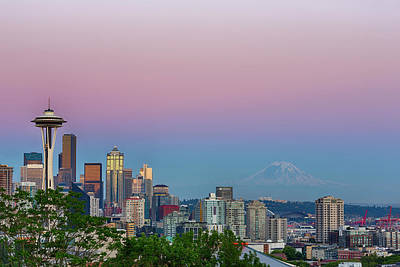 Seattle Skyline Photograph - Wa, Seattle, Skyline View From Kerry by Jamie and Judy Wild