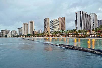 Photograph - Waikiki Beach Oahu Island Hawaii Cityscape by Marek Poplawski