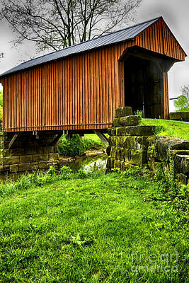 Music Royalty-Free and Rights-Managed Images - Walkersville Covered Bridge by Thomas R Fletcher