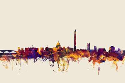 Cities Digital Art - Washington Dc Skyline by Michael Tompsett