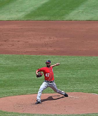 Photograph - Washington Nationals V Chicago Cubs by Jonathan Daniel