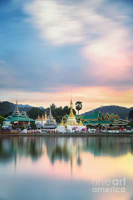 Wat Muang With Gilden Giant Big Buddha Statue Art Print by Anek Suwannaphoom