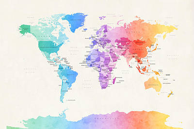 Planets Digital Art - Watercolour Political Map Of The World by Michael Tompsett