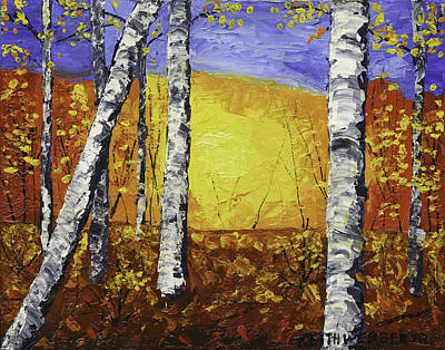 Pallete Knife Painting - White Birch Tree Abstract Painting In Autumn by Keith Webber Jr