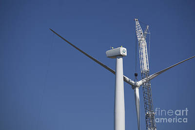 Photograph - Wind Turbine Under Construction by Jim West