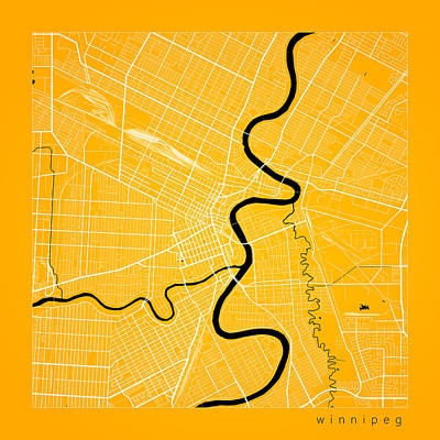 Winnipeg Digital Art - Winnipeg Street Map - Winnipeg Canada Road Map Art On Color by Jurq Studio