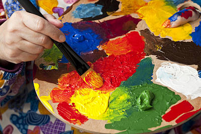 Photograph - Woman Holding Multicolored Palette And Paint Brush  by Jim Corwin