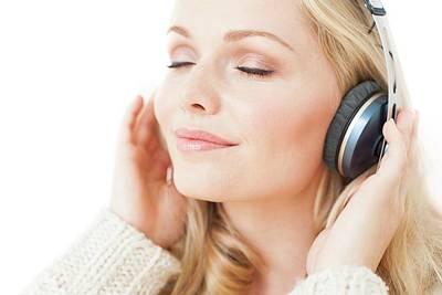 Pleasure Photograph - Woman Wearing Headphones by Ian Hooton