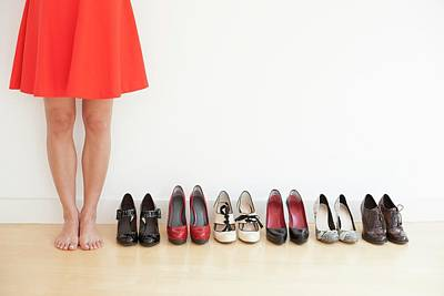 Woman With Shoes Art Print by Ian Hooton