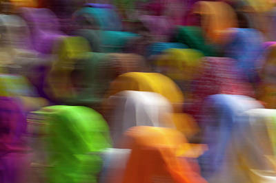 Veiled Woman Photograph - Women In Colorful Saris Gather by Keren Su