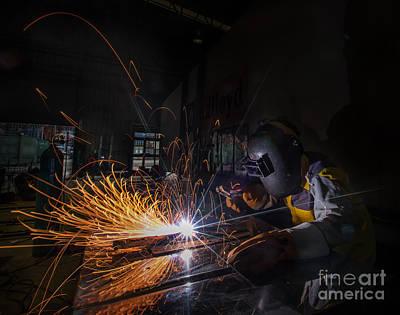 Worker Welding  Art Print by Anek Suwannaphoom