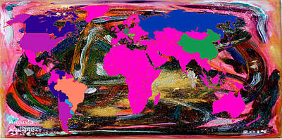 Abstract Map Digital Art - World Map And Human Life by Augusta Stylianou
