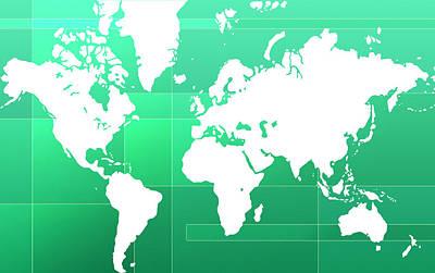 Stylish Map Digital Art - World Map Composition by Modern Art Prints