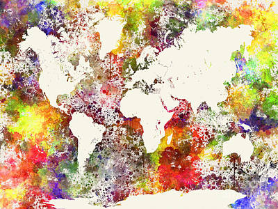 Globe Painting - World Map In Watercolor  by Pablo Romero