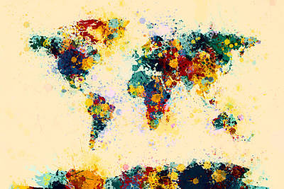 Digital Art - World Map Paint Splashes by Michael Tompsett