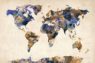 Global Digital Art - World Map Watercolor by Michael Tompsett