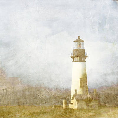 Golden Digital Art - Yaquina Head Light by Carol Leigh