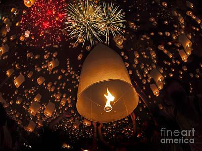 Fire Works Photograph - Yeepeng Festival  by Anek Suwannaphoom