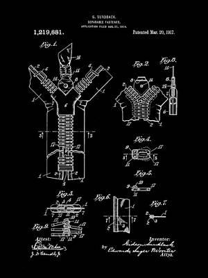 Zipper Patent 1914 - Black Art Print by Stephen Younts