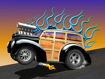Rat Rod Digital Art - '40 Ford Woody by Stuart Swartz