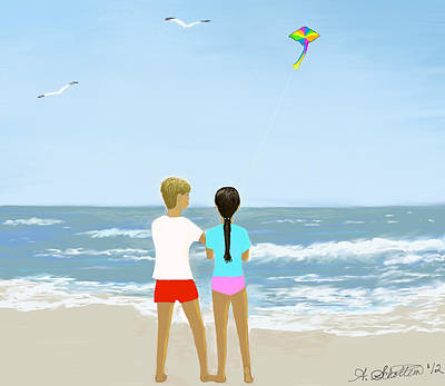 Children Flying Kite Painting - 40 Summers Ago by Amy Scholten