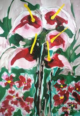 State-of-no-mind Painting - Zenmoksha Flowers by Baljit Chadha