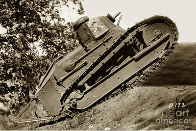 Photograph - 40th Tank Co. Renault Ft17 Light Tank Fort Ord California Circa 1930 by California Views Archives Mr Pat Hathaway Archives