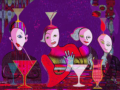 Glass Wall Digital Art - 041 - The Girls Of   Crazy Bar   by Irmgard Schoendorf Welch