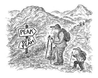 Hiking Drawing - New Yorker April 18th, 2005 by Edward Koren