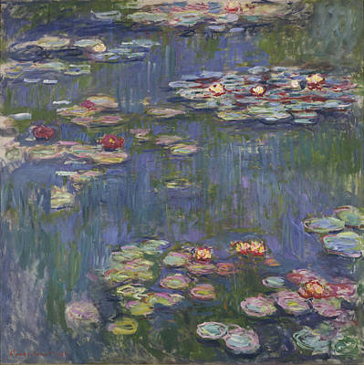 Horizontal Painting - Water Lilies by Celestial Images