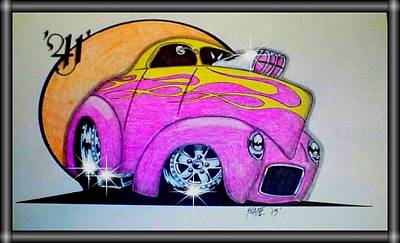 Funny Car Drawing - '41' Willy's by Scott Lane