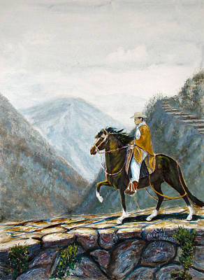 Peruvian Horse Painting - 410 Peruvian Mountain Trail by Nadine Meade