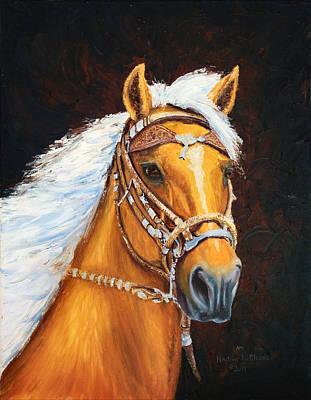 Peruvian Horse Painting - 411 Flashy Palomino Peruvian In Headstall  by Nadine Meade