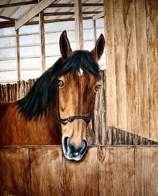 Peruvian Horse Painting - 412 Rocky On Tackroom Door by Nadine Meade