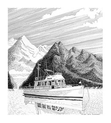 Drawing - Grand Banks Desolation Sound by Jack Pumphrey