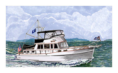 Yacht Club Painting - 42 Foot Grand Banks Motoryacht by Jack Pumphrey