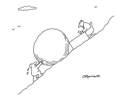 Desk Drawing - Business Sisyphus by Charles Barsotti