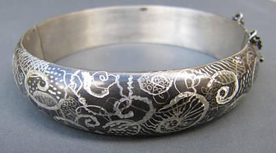 Sterling Silver Bracelet Jewelry - 421 Graffiti Cuff Bracelet by Brenda Berdnik