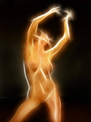 Photograph - 4210 Glowing Fractal Nude Woman by Chris Maher
