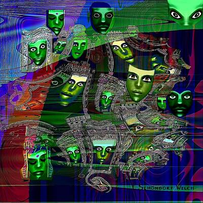 Twilight Zone Wall Art - Painting - 424 - Green Masks   by Irmgard Schoendorf Welch