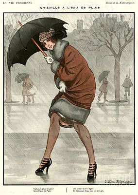 Rain Drawing - 1920s France La Vie Parisienne Magazine by The Advertising Archives