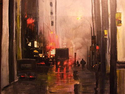 Mixed Media - 42nd And Broadway Ny Ny by Janet Visser