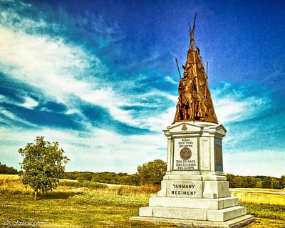 3rd Corps Digital Art - 42nd New York Infantry Memorial Gettysburg Battleground by Bob and Nadine Johnston