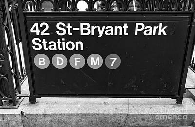 42nd St Bryant Park Station Mono Art Print by John Rizzuto
