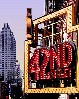 42nd Street New York City Art Print by Linda  Parker