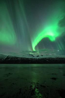 Snowy Night Photograph - Aurora Borealis by Tommy Eliassen