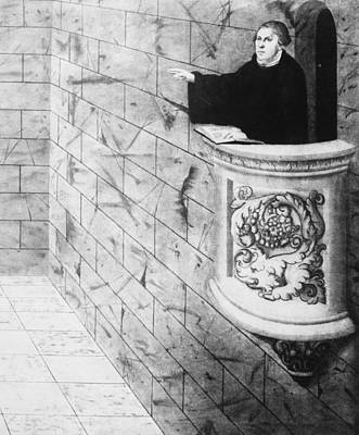 Podium Painting - Martin Luther (1483-1546) by Granger