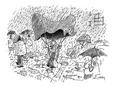 Rain Drawing - New Yorker November 7th, 2005 by Mike Twohy