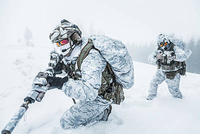 Photograph - Winter Arctic Mountains Warfare by Oleg Zabielin